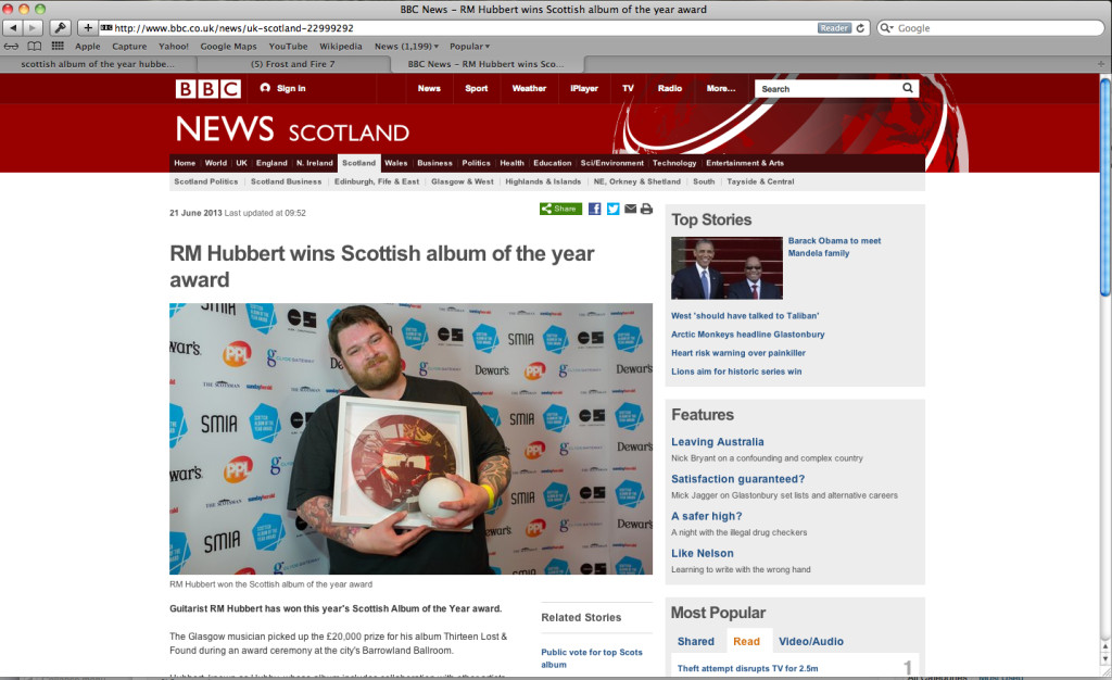 RM Hubbert wins Scottish Album of the year. Congrats to TimeLock composer.