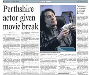 Perthshire actor Alton Milne given movie break in TimeLock. Feature article written by Peter Swindon from The Courier.